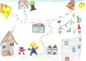 Kinderzeichnung Val Lumnezia mein Dorf